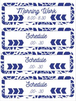 Blue Floral Schedule Cards (Editable)