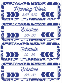 Blue Floral Schedule Cards (Editable)