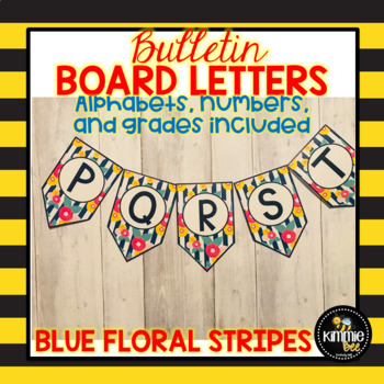 Blue Floral Stripes Bulletin Board Bunting Letters