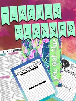 Blue Floral Teacher Planner