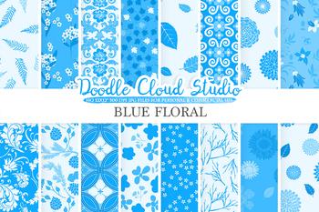 Blue Floral digital paper, Blue Floral patterns, Flowers, Dhalia, Leaves.