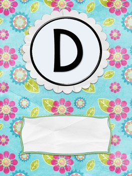 Binder Cover - Blue Flower Initial Freebie!