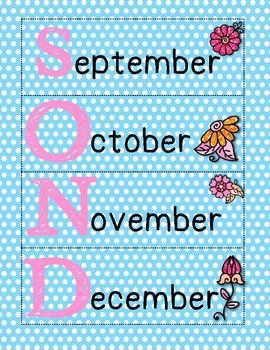 Blue Flower Themed Calendar Set