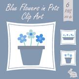 Blue Flowers in Plant Pots Clip Art Clipart Garden Spring Summer