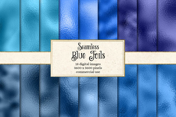 Blue Foil Textures, metallic shimmer seamless digital paper