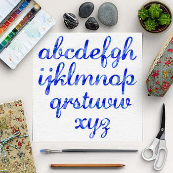 Blue Font Clip Art - Watercolor Lower Case Letters