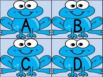 Blue Frog Alphabet Letter Flashcards