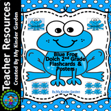 Blue Frog Dolch Sight Word Flash Cards & Posters 2nd Grade High Frequency Words