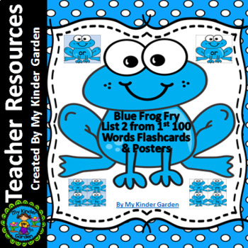 Blue Frog Fry Sight Word Flash Cards & Posters List 2 From 1st 100 Words