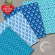 Blue Geometric Pattern Digital Papers and Backgrounds, AMB-1075