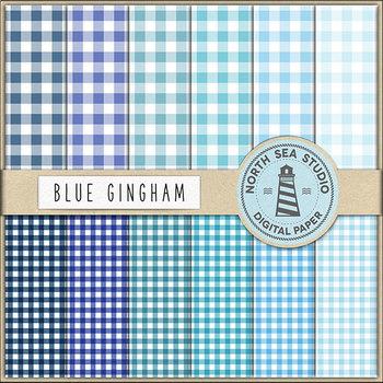 Blue Gingham Digital Paper
