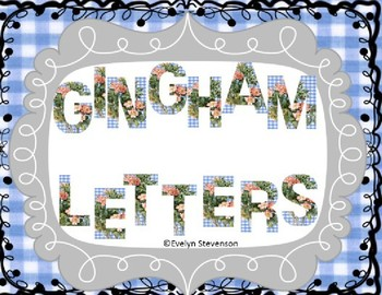 Blue Gingham and Roses Letters