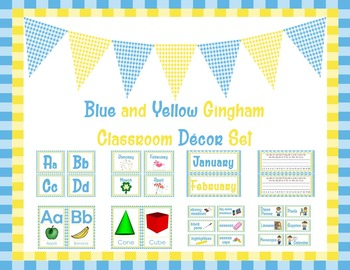 Blue Gingham and Yellow Gingham Classroom Decor Set