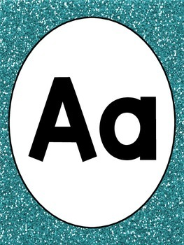 Blue Glitter Alphabet and Numbers