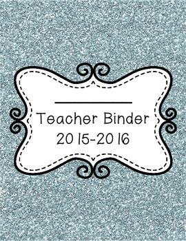 Blue Glitter 2015-2016 Teacher Binder