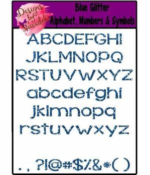 Blue Glitter A-Z & Symbols Clipart