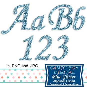 Blue Glitter Alphabet Clip Art