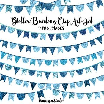 Blue Glitter Bunting Clip Art