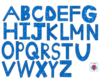 Blue Glitter Clip Art Letters