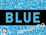 Blue Glitter Lettering - Letters and Numbers Font Clip Art