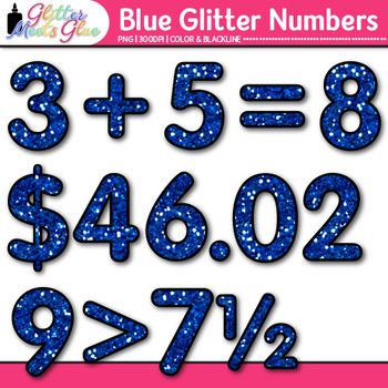 Blue Glitter Math Numbers Clip Art {Great for Classroom Decor & Resources}