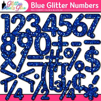 Blue Glitter Math Numbers Clip Art {Great for Classroom De