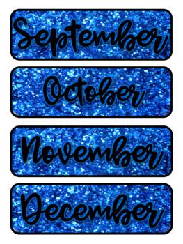 Blue Glitter Pocket Chart Subject Schedule Cards & Calendar