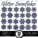 Blue Glitter Snowflakes Clip art - Commercial Use OK! { Z is for Zebra }