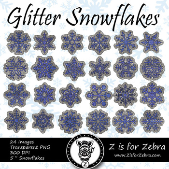Blue Glitter Snowflakes Clip art - Commercial Use OK! { Z is for Zebra }