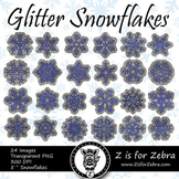 Blue Glitter Snowflakes Clip art - Commercial Use OK! { Z