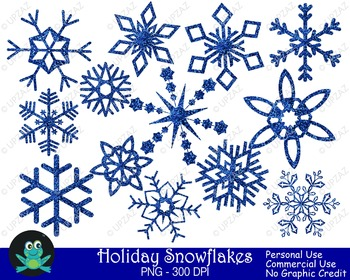Blue Glitter Snowflakes {Upzaz Digital Clipart}