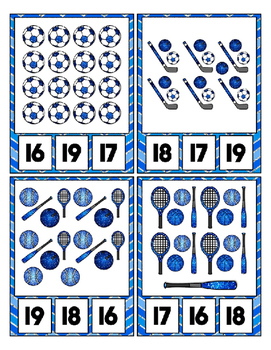 Blue Glitter Sports Equipment Math Center Clip Cards ~ Counting to 20 Preschool