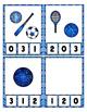 Blue Glitter Sports Equipment Math Center Clip Cards ~ Cou