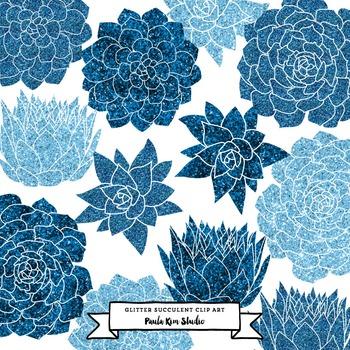 Blue Glitter Succulent Flower Clip Art