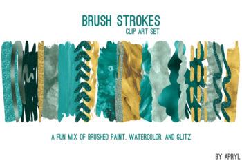 Blue Gold Brush Strokes Paint Glitter Foil Watercolor 20 PNG Clip Art 12in CU