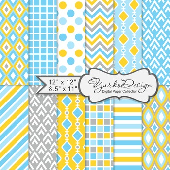 Blue Gray And Yellow Geometric Digital Paper Set, 12 Digital Paper Sheets