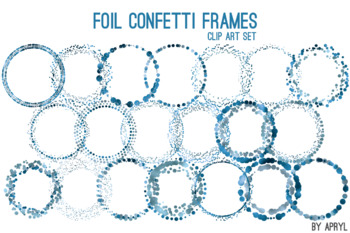 Blue Gray Confetti Round Frames 20 PNG Clip Art 8in Foil Metallic S11