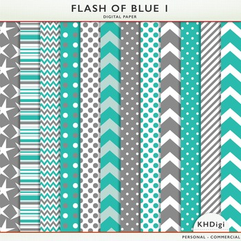 Blue & Gray Digital Paper - Flash of Blue 1