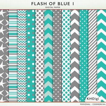 Blue & Gray Digital Paper - Flash of Blue 1