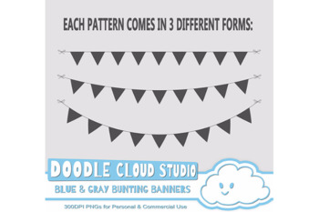 Blue & Gray Patterns Bunting Banners Cliparts Pack, pattered flags.