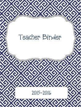 Blue Greek Key 2015-2016 Teacher Binder Planner