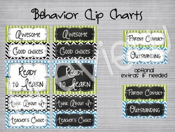Blue & Green Behavior Clip Chart: Mix & Match White/Chalkboard