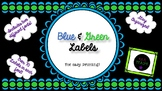Blue, Green & Black Classroom Labels