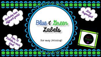 Blue, Green & Black Classroom Labels