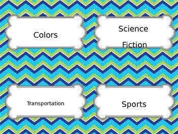Blue Green Book Bin Labels~Editable
