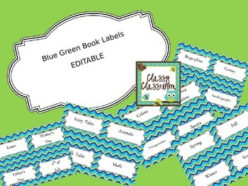 Blue Green Book Bin Labels~Editable