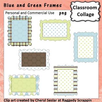 Blue Green Brown Frames or Labels Clip Art Color  pers & comm use C Seslar