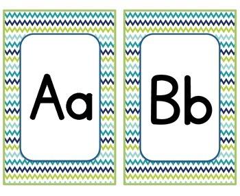 Blue & Green Chevron ABC Cards