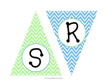 Blue / Green Chevron Bunting