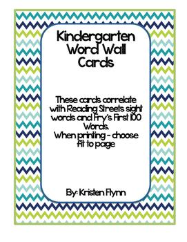 Blue & Green Chevron Kindergarten Reading Street/Fry Word Wall Cards